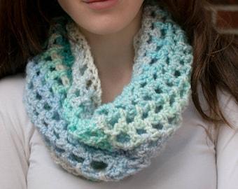 "Handmade crochet Simple Cowl: ""Eternal Winter"" - light blue scarf - fall/winter accessory - lightweight scarf - women's fashion"