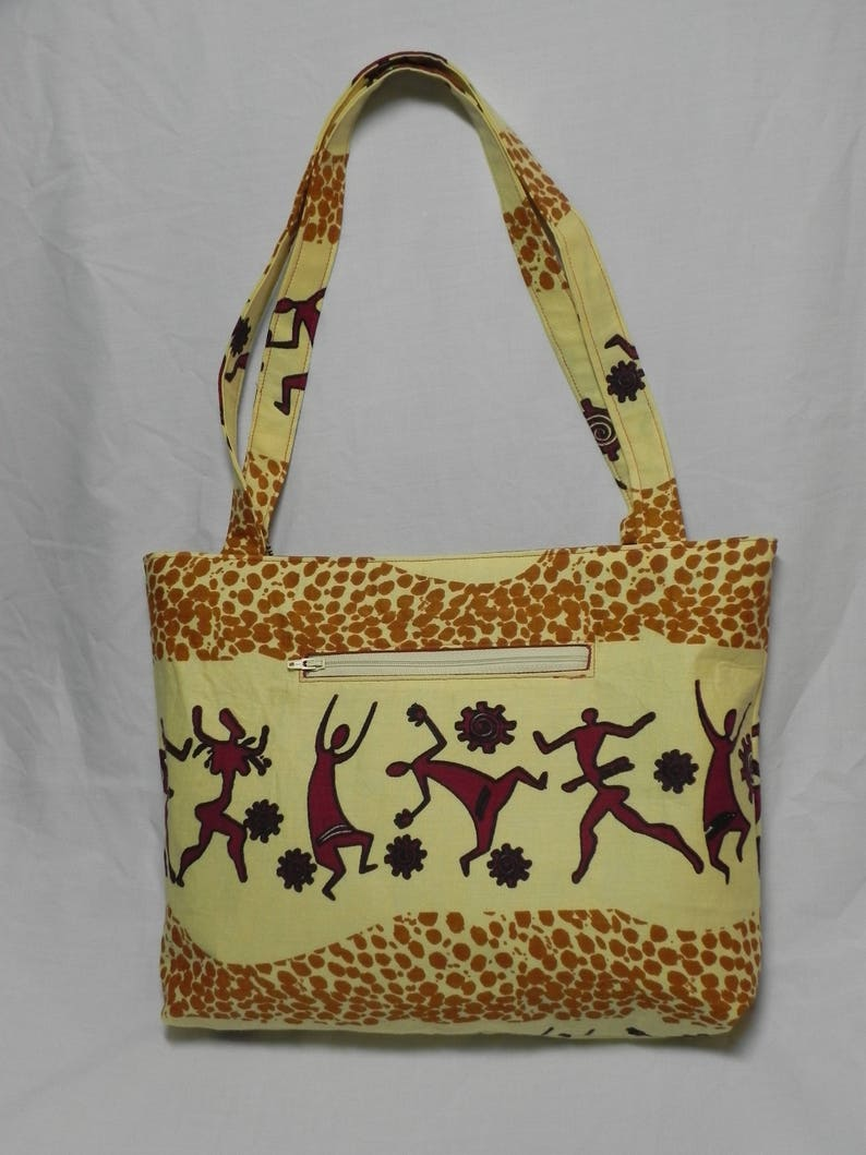 Zippered Tote Bag made with Malawi Fabric