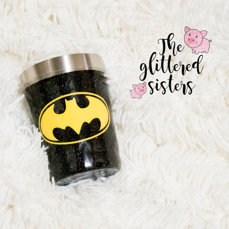 5ea9a365dca Batman Glitter Tumbler Stainless Steel Glitter Dipped Tumbler 10 oz, 20 oz,  30 oz tumbler with included straw!