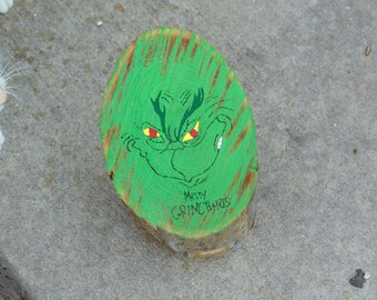 The Grinch Christmas Painted Log Cartoon Hand Painted Wooden Sign