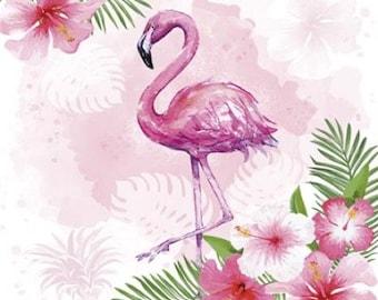 4 papel de Almuerzo Servilletas Para Decoupage Mesa de Fiesta Artesanía Vintage Invierno Flamingo