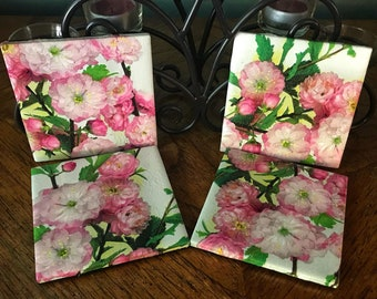 Spring Coasters , Summer Coasters, Almond Bloom, Rustic Coaster, Diane's Designs & Boutique, One of a Kind, Handmade