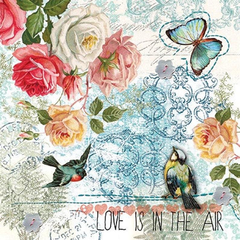 Love Is In The Air 4 Decoupage Napkins | Decoupage Prints Paper Serviette Napkin for Decoupage 4 Paper Napkins For Decoupage