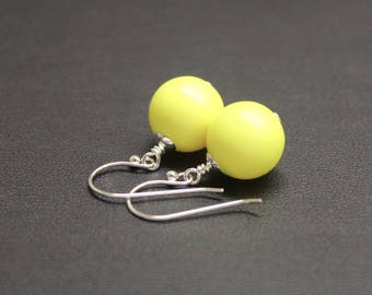 Bright Yellow Drop Earrings, Sterling Silver Earrings, Crystal Pearl Earrings, Neon Earrings, Drop Earrings, Fluro Jewelry
