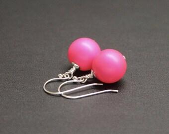 Bright Pink Drop Earrings, Sterling Silver Earrings, Crystal Pearl Earrings, Neon Earrings, Drop Earrings, Fluro Jewelry