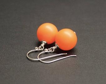 Bright Orange Drop Earrings, Sterling Silver Earrings, Crystal Pearl Earrings, Neon Earrings, Drop Earrings, Fluro Jewelry