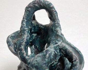 Unique Ceramic Stoneware Sculpture with Turquoise Glaze