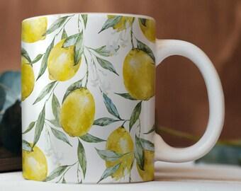 7dc7fe3d66 Lemon Mug Tea Mug Coffee Cup Lemon Print Mug Custom Mug Vegan Mug White  Ceramic Mug Lemon Tea Cup Lemon Cup Gift for Her Coffee Mug CP6073