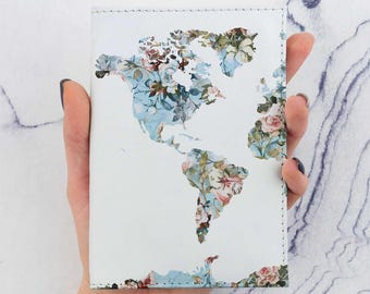 Rose Flowers Passport Cover Blue World Map Printed Map Watercolors Passport Case Holder Pass Cover Travel Gift Leather Wallet Pass CP6049