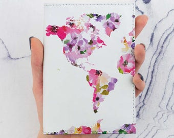 Pink Flowers Passport Cover Colorful Map Printed Map Watercolors Passport Case Holder Pass Cover Travel Gift Leather Wallet Pass CP6052