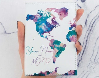 Colorful Map Passport Cover Leather Birthday Gift Travel Gift Passport Case Card Holder Personalized Gift Personalized Passport Cover CP6019