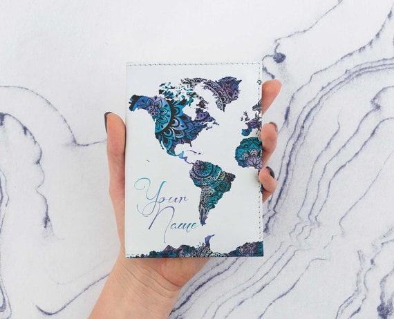 World Map Passport Holder.Blue World Map Passport Cover Printed Map Watercolors Mandala Etsy