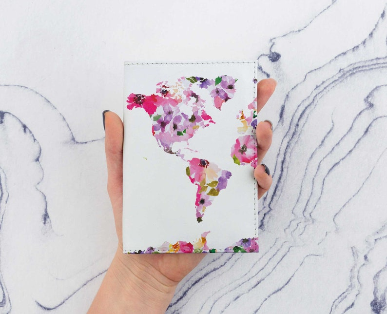World Map Passport Holder.Colorful World Map Passport Cover Watercolor Map Leather Etsy