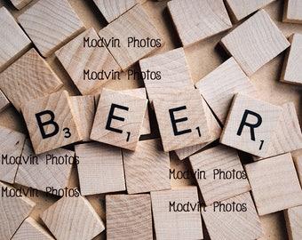 Scrabble Beer Photograph, Modern Art Photo,