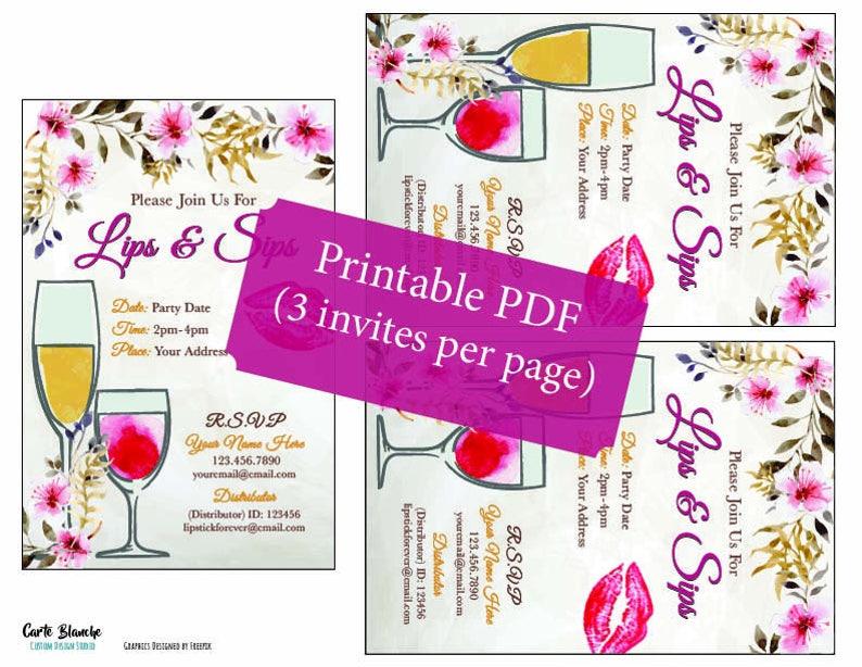 Floral Invite Lips and Sips LipSense Printable Invitation Printable Lip and Sips Party Invitation LipSense Distributor Event Invite