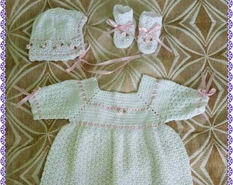 Thread Crochet Baby Christening Set with Gown, Bonnet, and Booties with Ribbons and Roses - Size 0-3 months