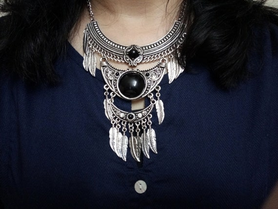 Chunky Silver Tone Hippy Boho Necklace