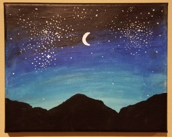 Colorful Galaxy Night Sky In Oil Pastel And Stars And Black Etsy