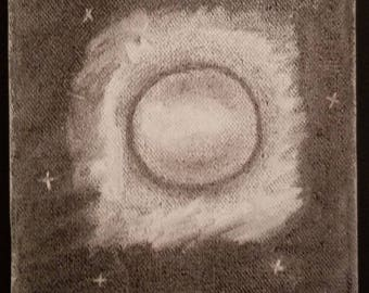 Moon with Stars in Night Sky in Charcoal Art Drawing Handmade