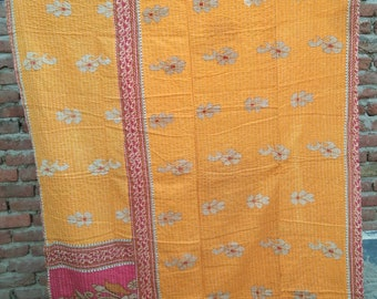 UniquestoreJPR Handmade Kantha Quilt Indian Old Sari Hand Stiched Kantha Bedspread Twin Blanket Throw Reversible Gudari