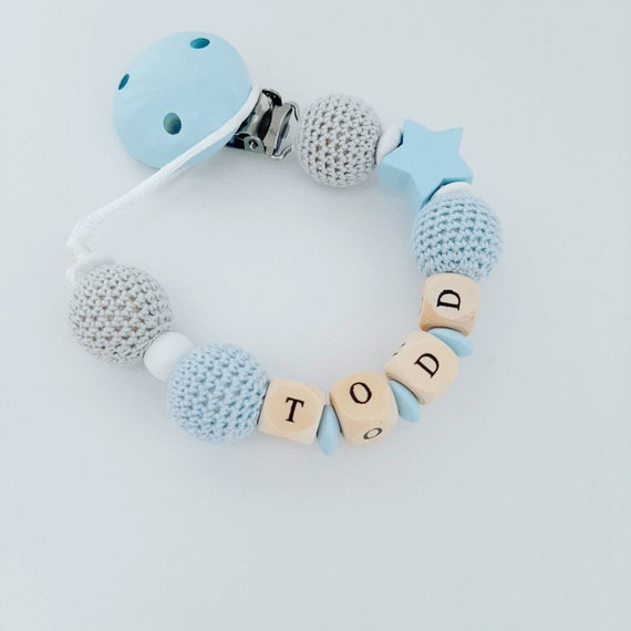 Pink White /& Blue Stars Pacifier Clip Personalised Dummy Clip Dummy Chain