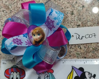 Princess Anna and Queen Elsa from Frozen Satin Hair Bow with Alligator Barrette Clip