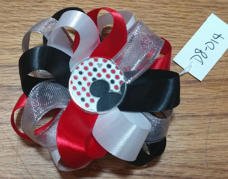 Mickey Mouse Satin Hair Bow with French Barrette Clip D7-002