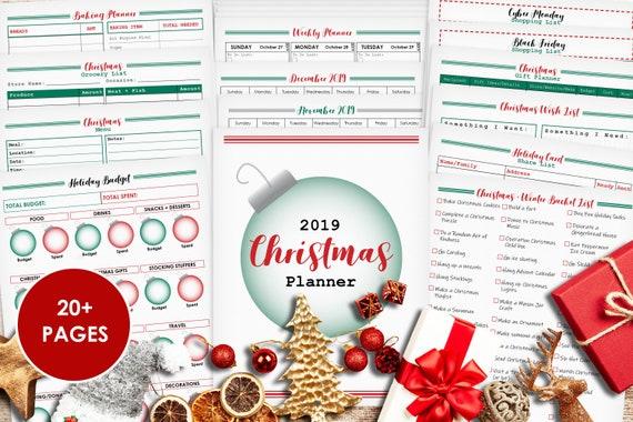 Christmas 2019 Calendar.Christmas Planner Christmas List Christmas 2019 Holiday Planner Holiday Printable Holiday Calendar Menu Planner Shopping List