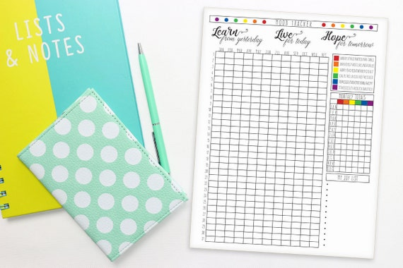 Printable Tracker, Printable Mood Tracker, Printable Inserts, mood tracker  printable, mood tracker pdf, mood tracker monthly, year in pixels