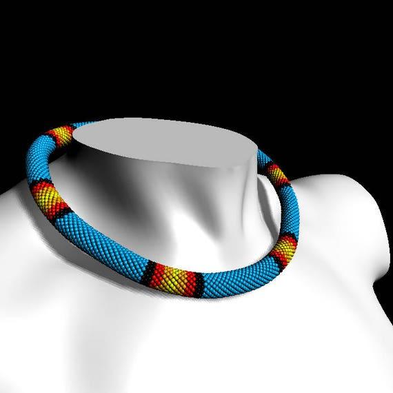 Pdf Beaded Crochet Rope Pattern Huichol Necklace Pattern Etsy