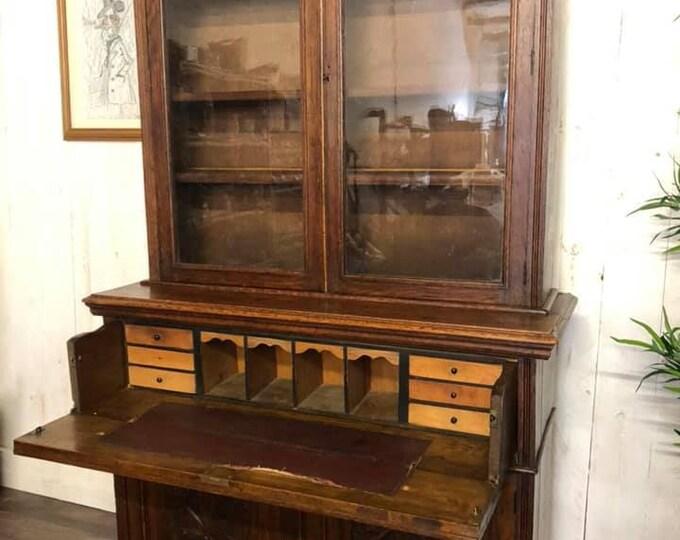 Large Antique Victorian Secrétaire Display Cabinet