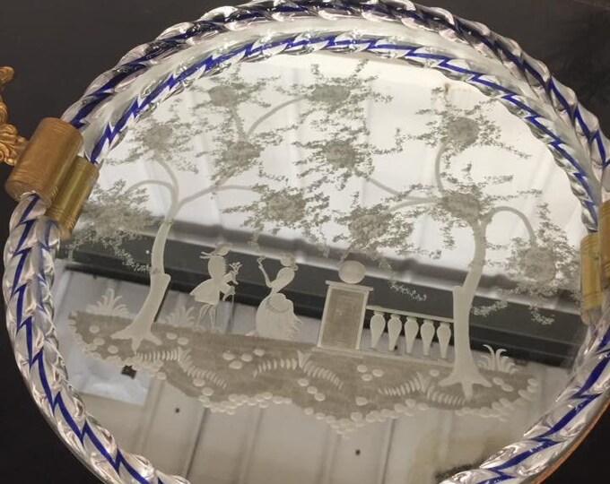 Venetian Murano Etched Glass Vanity Tray