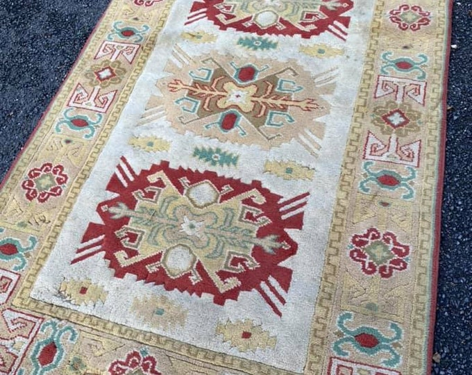 Red and Cream Ground Rug 200 x 124