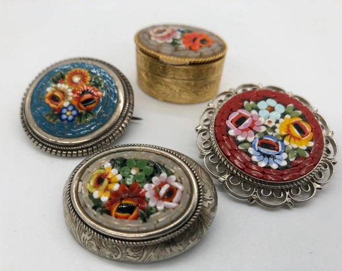 Collection Of Micro Mosaic Brooches and Pill Box Italy