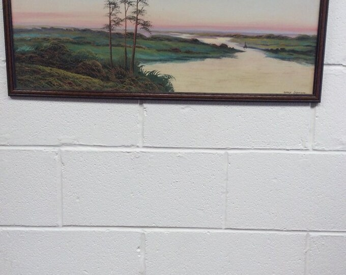 Signed George Copeland Landscape Gouache Framed
