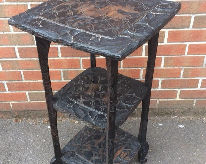 Carved Ebonised Pine Stand