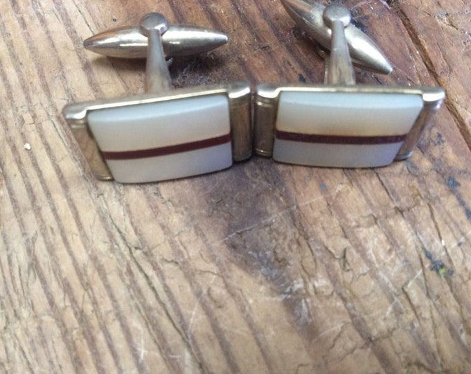 Vintage C1950 Silver Tone Mother of Pearl Cufflinks Wedding Cufflinks Dress Cufflinks Valentine JO88