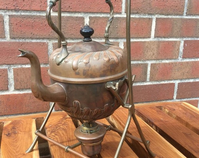 C1900 Copper and Brass Spirit Kettle and Stand Original Working Kettle NOT a Reproduction