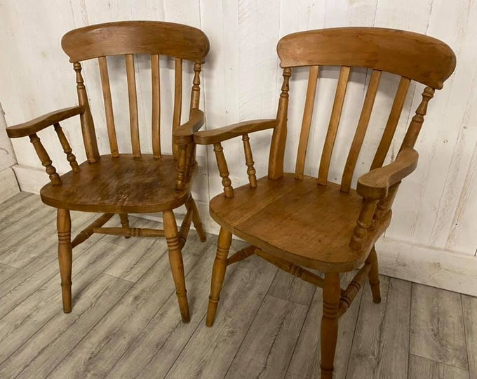 Pair of Beech Vintage Elbow Chairs