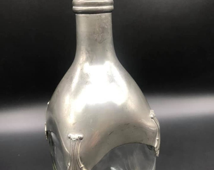 Antique French Pewter and Glass Decanter