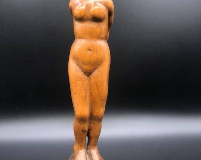 WW1 Carved Nude Lady Bound Figure