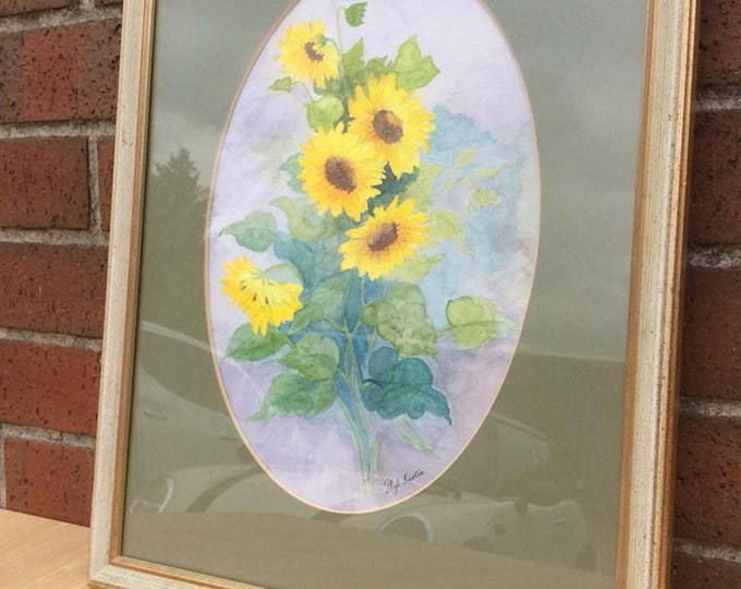 Sunflowers Watercolour by Phyl Kirton Signed