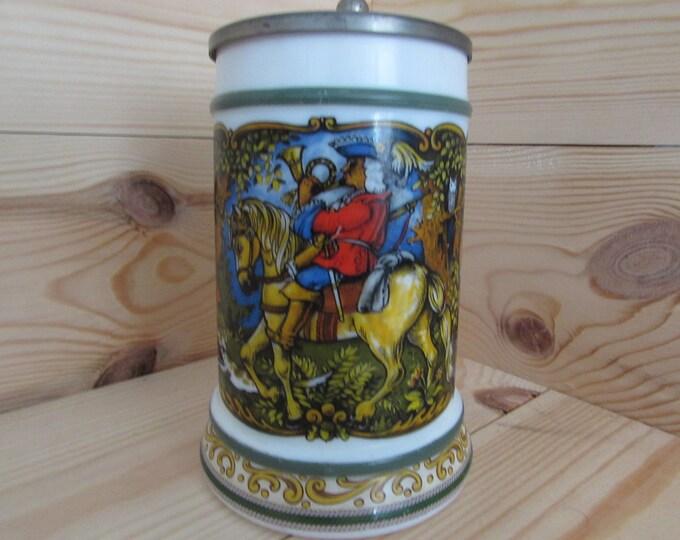 German Stein Very Heavy Huntsman Stein B M F Beer Tankard  REIN ZINN