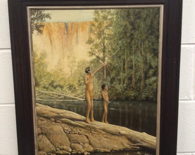J Harris South American Indians Indigenous Tribesmen Oil on Canvas