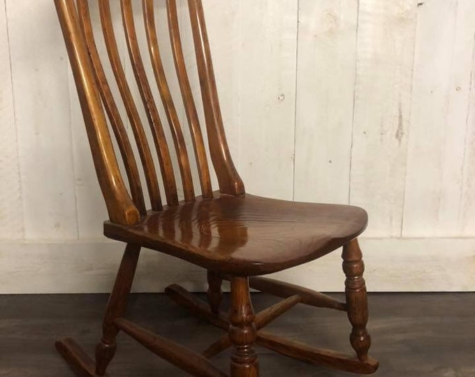 Antique Victorian Elm and Beech Low Rocking Chair