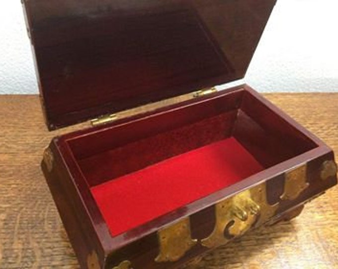 Chinese wooden and Brass Jewellery Box