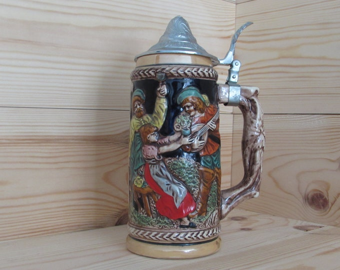 K W Japan  Large Stein Beer Stein Tankard Decorative Collectors Item Man Cave