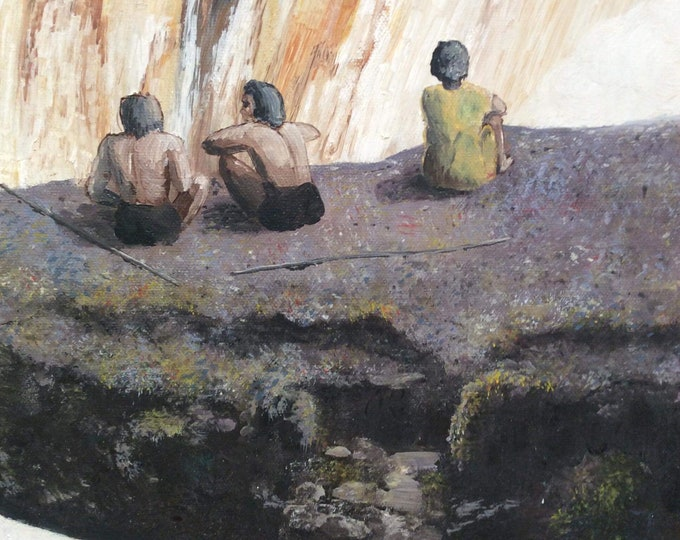 J Harris South African Scene Oil on Canvas Indigenous Tribesmen Signed