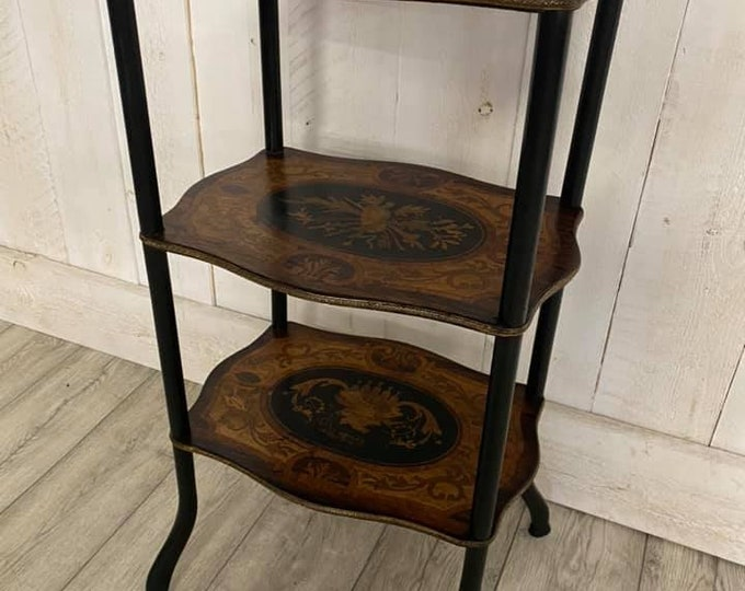 French Rosewood and Marquetry Etagere