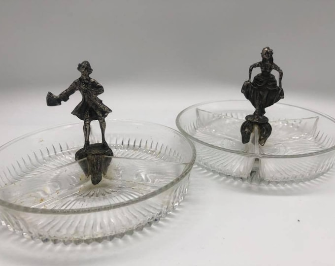 Antique Pair Glass and Spelter Hors D'oeuvre Dishes C1938